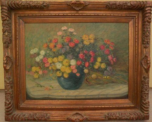 Impressionist American floral still life painting circa 1930