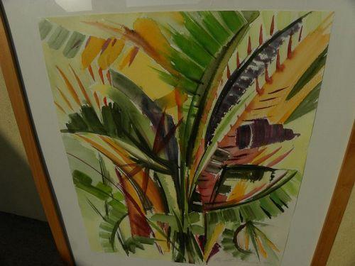 California colorful watercolor painting bird of paradise