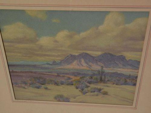 RAYMOND NOTT (1888-1948) California plein air impressionist art desert pastel drawing
