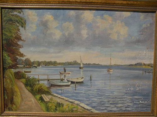 Scandinavian art signed 1948 landscape painting of a lake