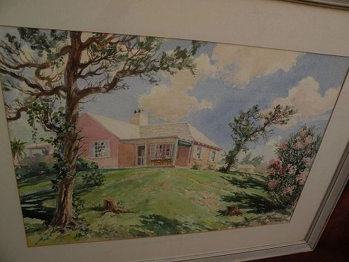 F. KENWOOD GILES (1899/1900-1972) Bermuda art original mid century signed large watercolor painting of traditional island home