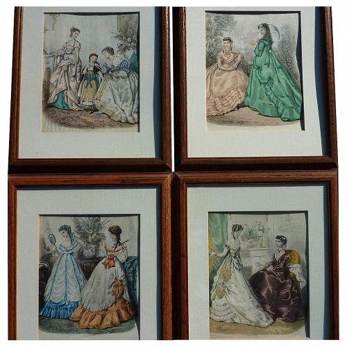 French Victorian fashion prints (4) from La Mode Illustree circa 1875
