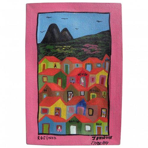 Brazilian naive art colorful contemporary painting of Rio de Janeiro neighborhood