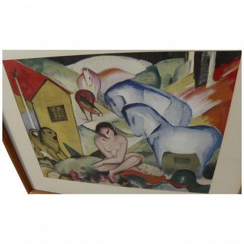 "After FRANZ MARC (1880-1916) original lithograph print ""Der Traum"" (""The Dream"")"