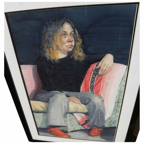 AL ZERRIES (1940-2009) watercolor portrait painting by noted New York artist