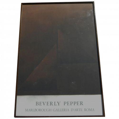 BEVERLY PEPPER (1922-2020) original lithograph poster Marlborough Galleria Roma circa 1970