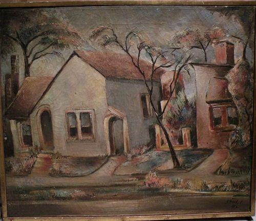 "BENJAMIN ALBERT STAHL (1910-1987) expressionist oil painting ""Laurel Ave."" by important American illustrator artist"