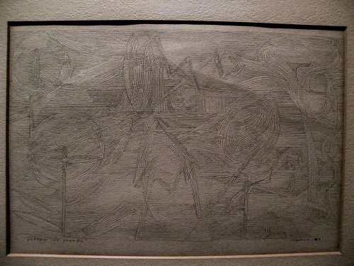 """Modern American art 1950s signed abstract geometric rare drawing signed """"STANDISH"""" (BACKUS?)"""