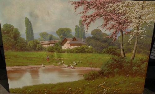 JOSEPH DANDE (1911-) Hungarian art impressionist spring landscape painting listed artist
