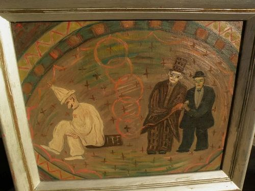 JACOB PELL (1898-1991) whimsical naive circus painting by listed WPA artist
