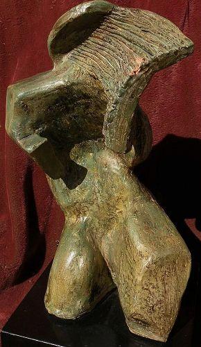 Henry Moore inspired signed mid century modern sculpture original terra cotta glazed figural