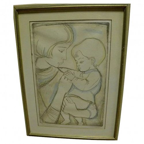 "IRVING AMEN (1918-) pencil signed etching and aquatint print titled ""Tenderness"""