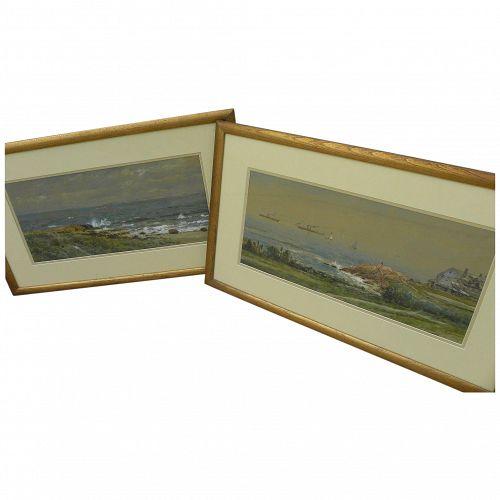 EDMUND DARCH LEWIS (1835-1910) **PAIR** fine American marine art watercolor and gouache coastal landscape paintings