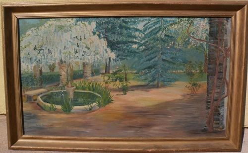 California vintage art signed 1938 impressionist painting of a courtyard