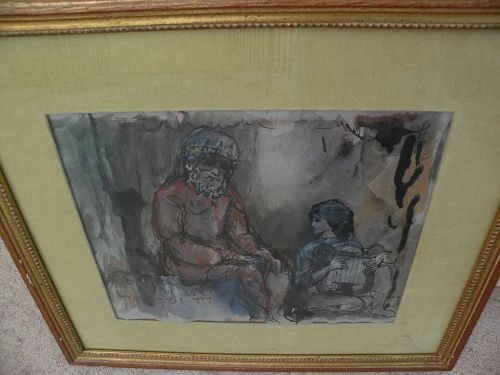 IRVING ALEXANDER BLOCK (1910-1986) Judaica watercolor painting by listed American artist