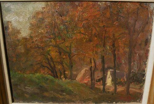 JANOS LASZLO ALDOR (1895-1944) Hungarian art impressionist autumn landscape by well listed painter