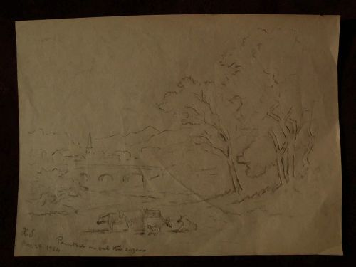 XANTHUS RUSSELL SMITH (1839-1929) noted American artist pencil drawing study of rural landscape with cows
