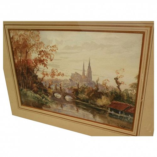 19th century French fine watercolor painting of Chartres by listed artist GABRIEL ALBERT MARIE LEFEVRE