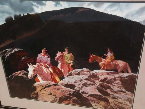 GLEN EDWARDS (1942-) contemporary American Western art original fine watercolor painting�