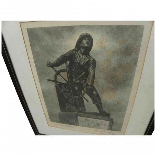 LEONARD CRASKE (1882-1950) marine art pencil signed photogravure print of iconic Gloucester fisherman statue by its creator