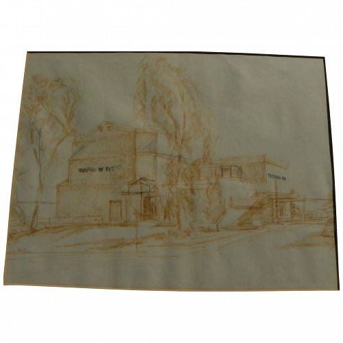 ROGER KUNTZ (1926-1975) California art original study drawing likely for Laguna Art Museum building