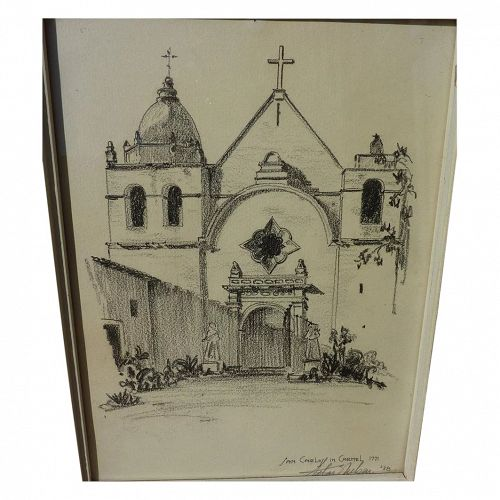 SILAS E. NELSEN (1894-1987) drawing of Mission San Carlos Borromeo at Carmel, California by noted architect