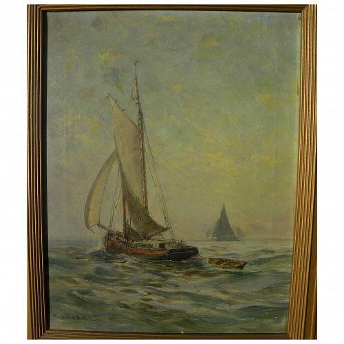 HENDRICKS A. HALLETT (1847-1921) American oil painting of small sailing boat on calm sea