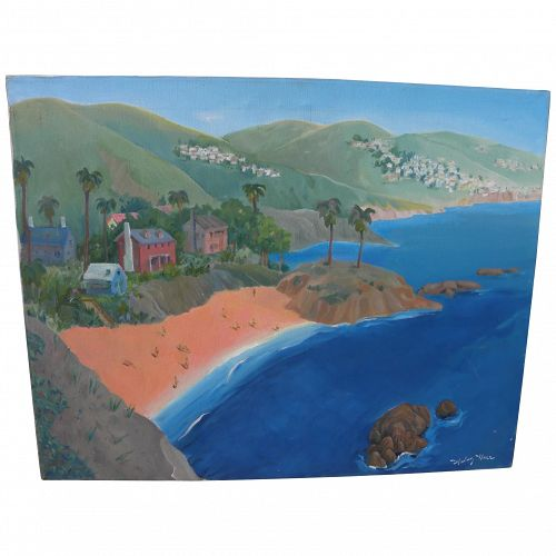 Contemporary oil painting of California coast signed Sidney Hall
