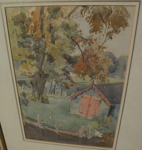 "ROBERT JOHN SWAN (1888-1980) fine vintage watercolor painting ""The Garden Shed"""