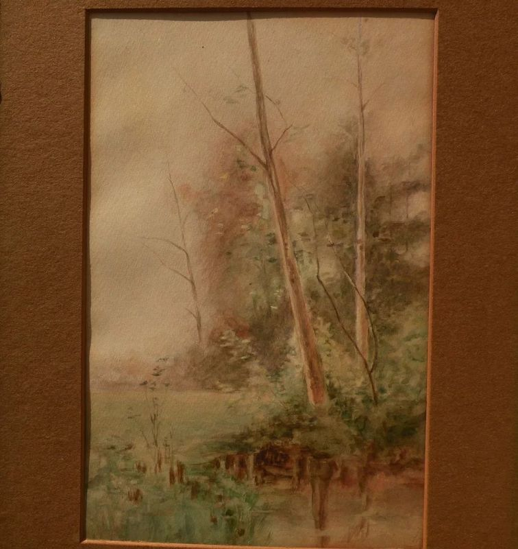 Vintage American art watercolor painting trees by lake or pond