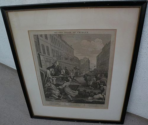 """WILLIAM HOGARTH (1697-1764) original famous engraving """"Second Stage of Cruelty"""" noted as a landmark satiric commentary on cruelty to animals"""