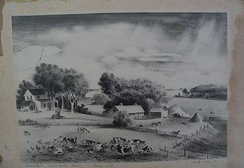 "ADOLF DEHN (1895-1968) pencil signed limited edition lithograph print ""Minnesota Farm"" 1935"