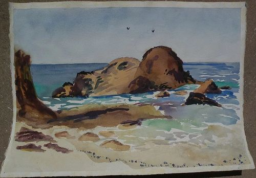 Impressionist American watercolor painting of the seashore