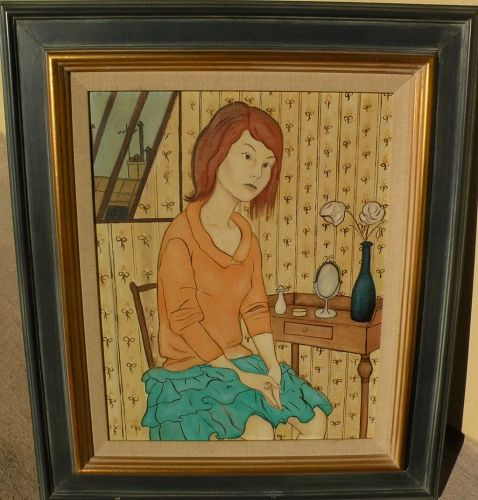 Contemporary French painting of seated young woman in interior style of Philippe Noyer
