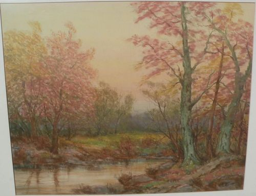 Impressionist signed large drawing autumn forest with lake or pond
