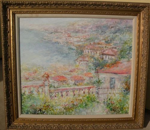 Contemporary impressionist large painting of Mediterranean coast town