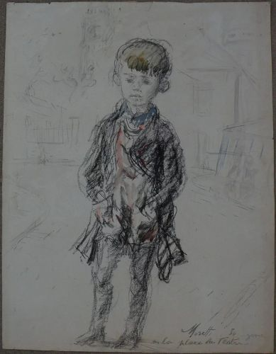 LUCIEN PHILIPPE MORETTI (1922-2000) French modern art charcoal and watercolor drawing of a child 1954