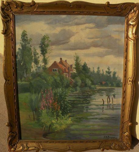 Vintage impressionist European signed painting pond home nice framing