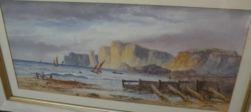 LENNARD LEWIS (1826-1913) English 19th century watercolor landscape painting of dramatic coastal cliffs and fishermen dated 1896
