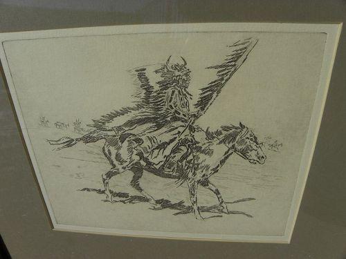 ED BOREIN (1872-1945) western American art posthumous etching