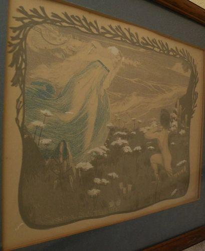"Henri Jules Ferdinand Bellery-Desfontaines (1867-1910) original color lithograph ""L'Illusion"""