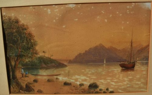 THOMAS RYAN (1864-1927) early New Zealand art 1886 watercolor