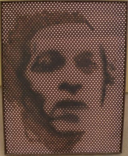 American 1960's pop art painting on silk style of Shepard Fairey signed