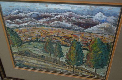 Western landscape gouache painting perhaps New Mexico