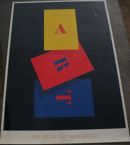 PER ARNOLDI (1941-) hand signed 1986 colorful offset poster by Danish contemporary artist