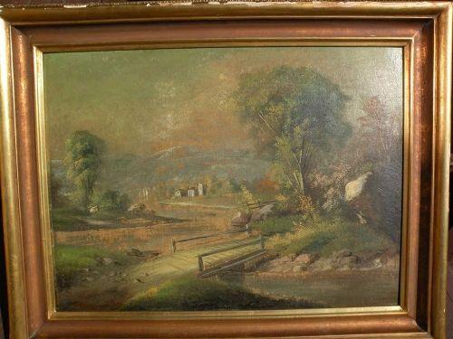 Hudson River style antique landscape painting circa 1890