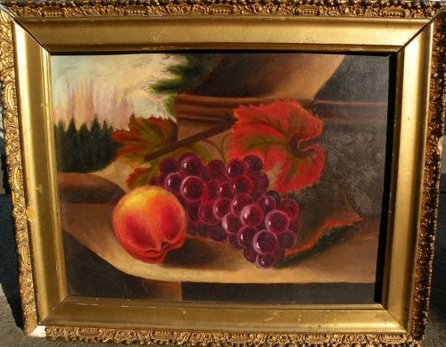 American 19th century still life painting of grapes and a peach with a view beyond
