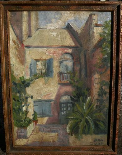 New Orleans Louisiana art signed painting of courtyard circa 1920