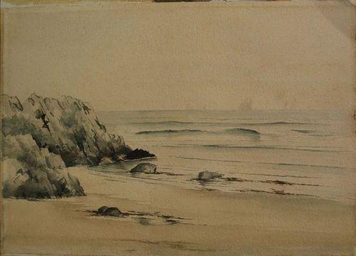 antique watercolor painting New England coast circa 1900