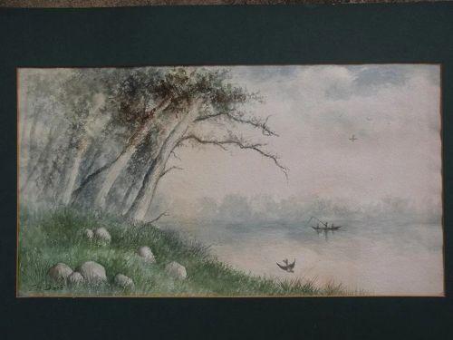 "Antique American watercolor landscape painting signed ""T H Dore"""